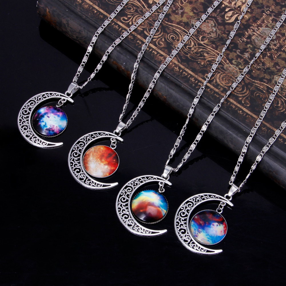 Crescent Moon Galaxy Star Rhinestone Time Gems Pendant Necklaces Unisex Jewelry image
