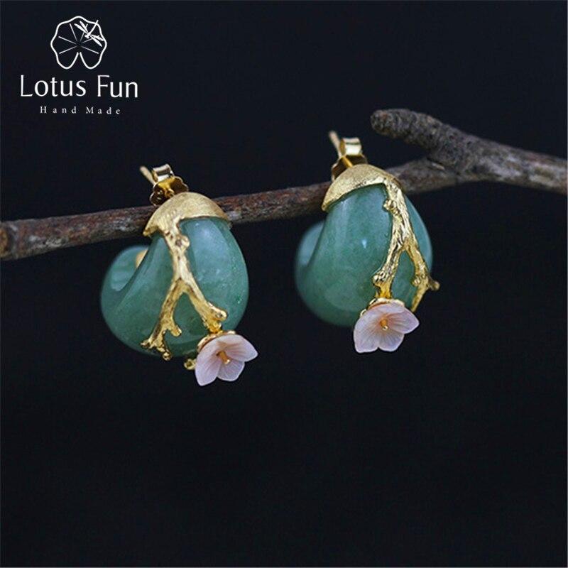 Lotus Plaisir Réel 925 Sterling Argent Naturel Aventurine Original À La Main Fine Bijoux Prune Fleur Boucles D'oreilles pour les Femmes