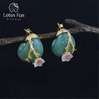 Lotus Fun Real 925 Sterling Silver Natural Rosy Crystal Original Handmade Fine Jewelry Plum Flower Stud