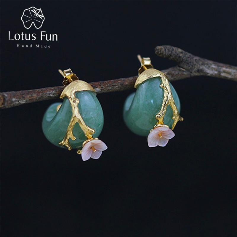Lotus สนุกจริง 925 เงินสเตอร์ลิงธรรมชาติ Aventurine ทำด้วยมือเครื่องประดับดอกไม้พลัมต่างหูผู้หญิง-ใน ต่างหู จาก อัญมณีและเครื่องประดับ บน   1