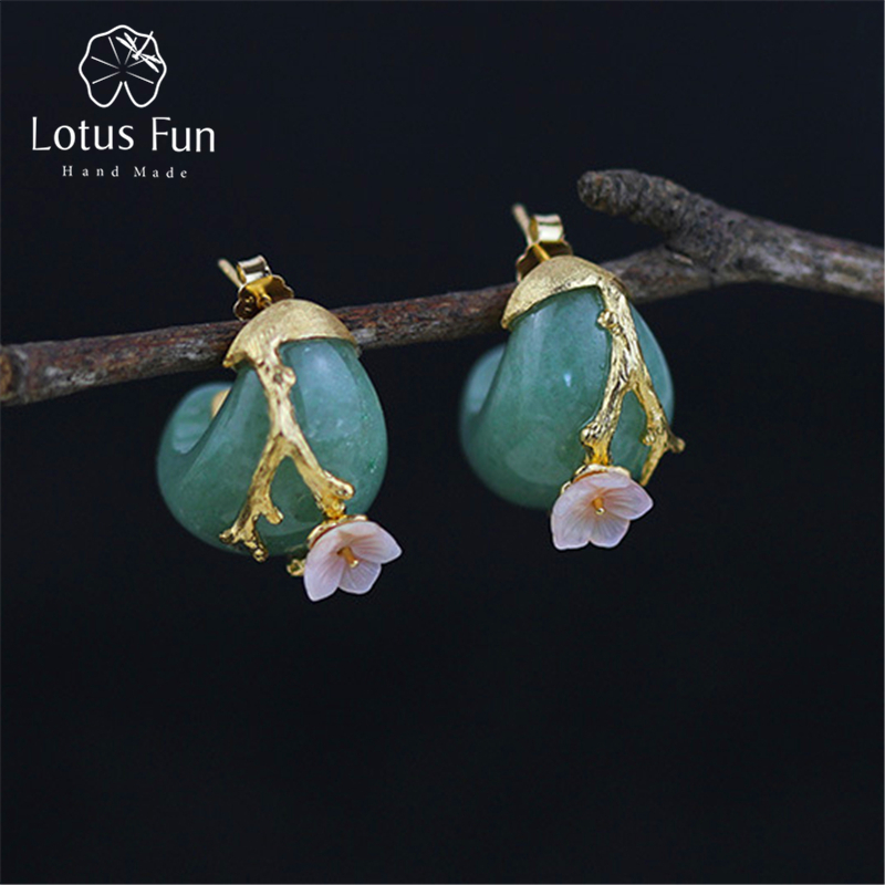 Lotus Fun Real 925 Sterling Silver Natural Aventurine Original Handmade Fine Jewelry Plum Flower Stud Earrings for Women