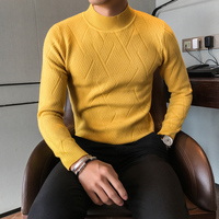 High Quality Autumn Men Sweater Brand New Slim Fit Geometric Pattern Pullover Sweater Mens Clothing 2018 Fashion Knitwear 3XL M