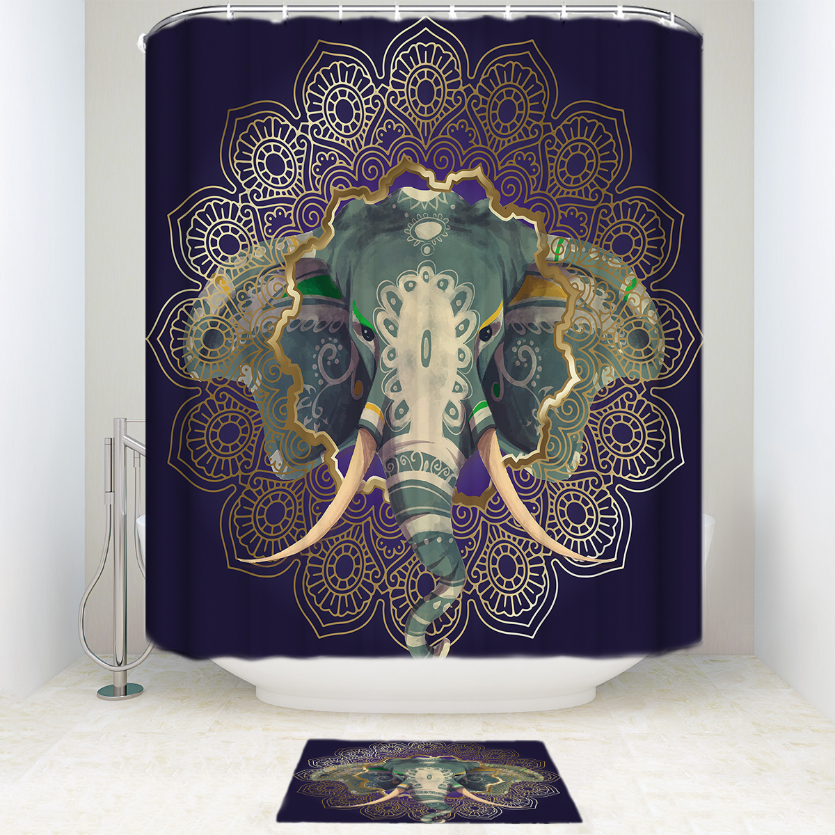 Golden Mandala Frame and Elephant Waterproof Polyester Fabric Shower Curtain with Hooks Doormat Bath Floor Mat Bathroom