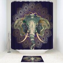 Mandala de Ouro Quadro e Elefante Cortina de Chuveiro de Tecido de Poliéster Impermeável com Ganchos Capacho Banho Tapete Banheiro