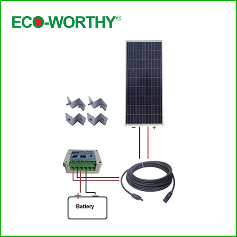 ECO-WORTHY USA UK Stock 150W 12V Poly Solar Panel Kit: 150W Solar Panel 15A Charge Controller Outdoor new uk stock 40w 12v poly solar panel poly solar module high quality free shipping