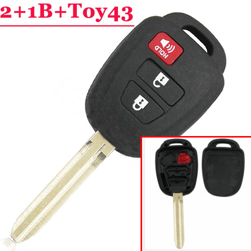 цена на Replacement Car Key for Toyota Camry 2+1 3 Buttons Uncut Toy43 Blade Remote Key Shell Fob Auto Cover Case for Toyota 2012 2013
