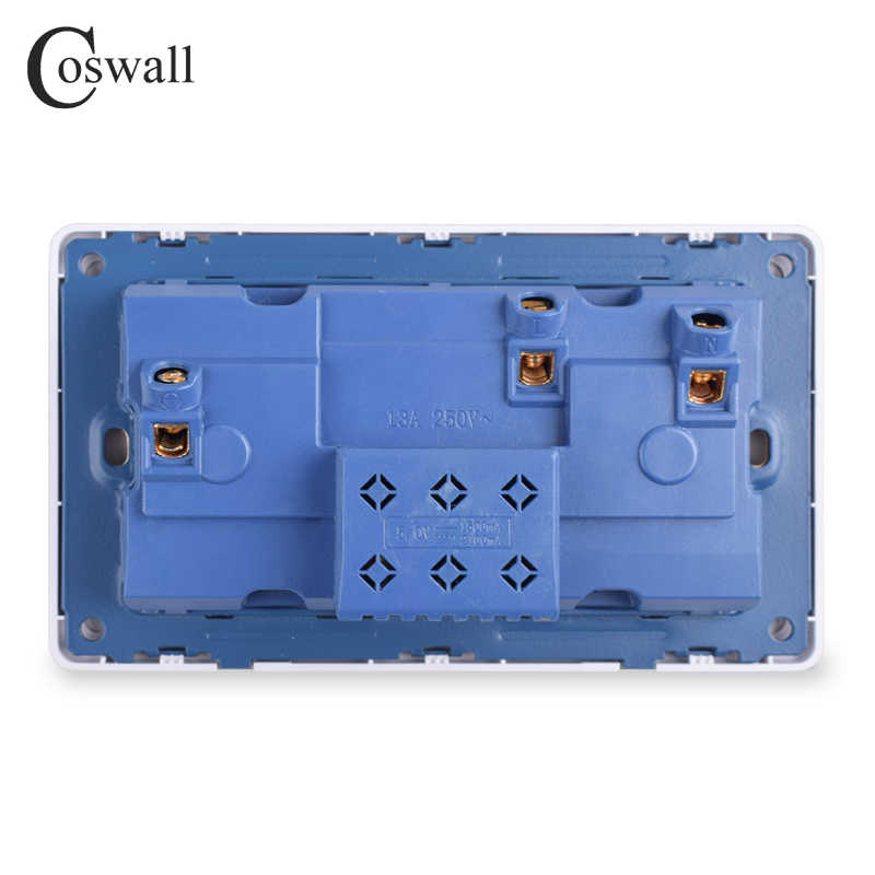 Coswall Stopcontact Dubbele Universele 5 Gat Geschakeld Outlet 2.1A Dual USB Charger Poort LED indicator 146mm * 86mm