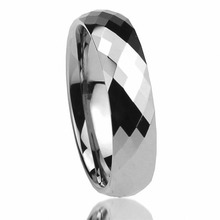 8mm Polished Multi-Faceted Tungsten Carbide Promise Ring Anniversary Wedding Band