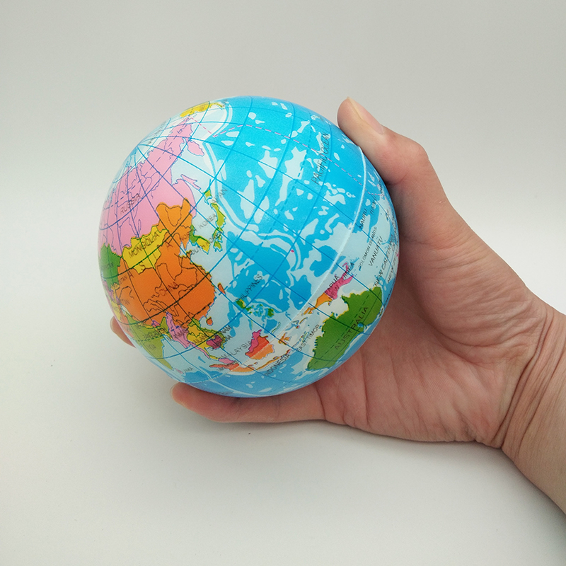 100mm / 63mm Anti Stress Relief World Map Foam Ball Atlas Globe Palm Ball Planet Earth Ball Toys For Children