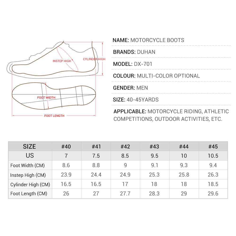 Botas de Moto DUHAN de malla de verano para hombre, zapatos de Moto, Motocross, Botas de carreras todoterreno, Botas de Moto, Moto, negro blanco