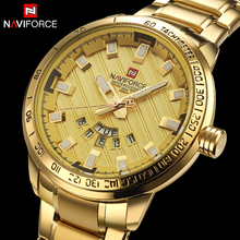 Роскошные Брендовые мужские часы NAVIFORCE из нержавеющей стали золотые мужские кварцевые часы мужские спортивные Водонепроницаемые наручные часы relogio masculino