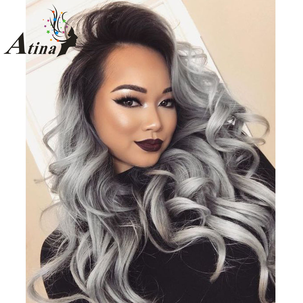 Ombre Grey Human Hair Wig Loose Wave Dark Root 1BTGray Silver Lace Front Wig 10A Virgin Hair Human Lace Wig 150% Density Plucked
