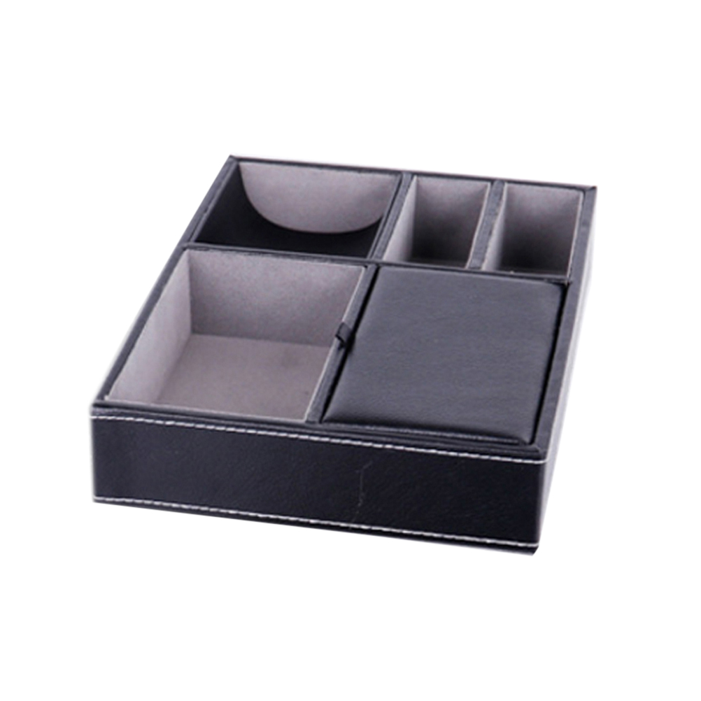 PU Leather Storage Tray Nightstand Desk or Dresser Organizer for Keys Phone Wallet Coin Jewelry and More (Black) malerba кресло black and more