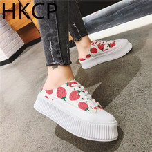 HKCP 2019 summer new casual baotou slipper sponge cake thick bottom strawberry no heel strap lazy half lady C271
