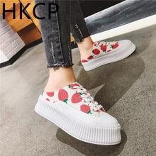 HKCP 2019 summer new casual baotou slipper sponge cake thick bottom strawberry no heel strap lazy half lady C271