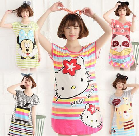 Summer Cotton Sleepshirt Women s Nightgowns Sleepshirts Cartoon Nightdress  Girl Sleepwear Femme Pyjamas Women Lounge 69c6a7353