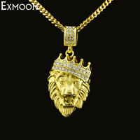 Mens Gold Color Crown 3D Lion Pendant Necklace Top Quality Rhinestone Crystal Animal Cuban Chain Long