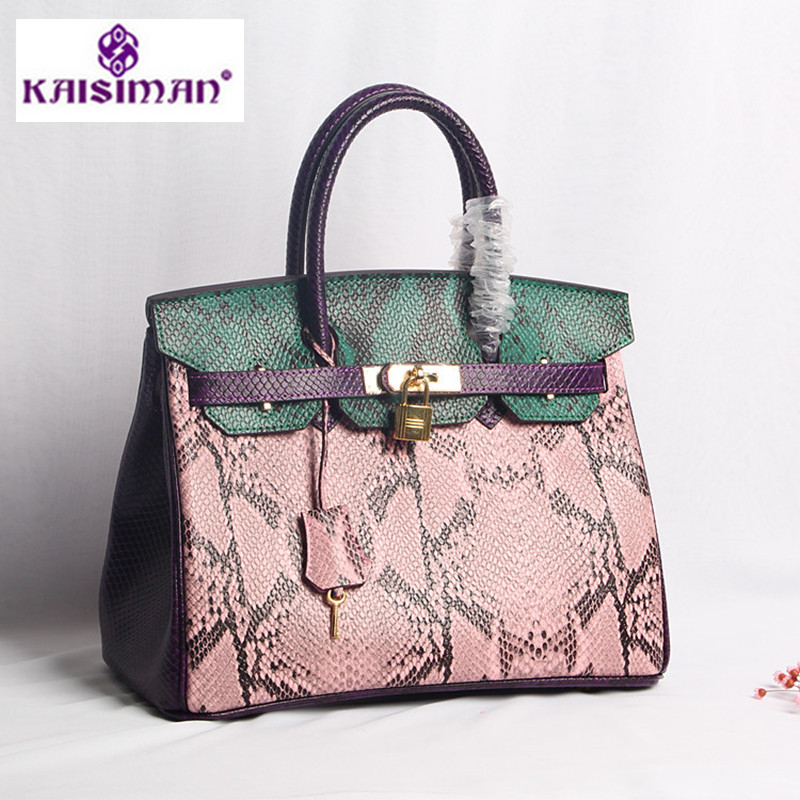 Genuine Leather Women Handbags Snake Pattern Lock Platinum Bag Pink Green Fashion Cowskin Top Handle Tote Handbag Shoulder Bags bodan 219 convenient stylish prismatic pattern cosmetic bag w handle deep pink