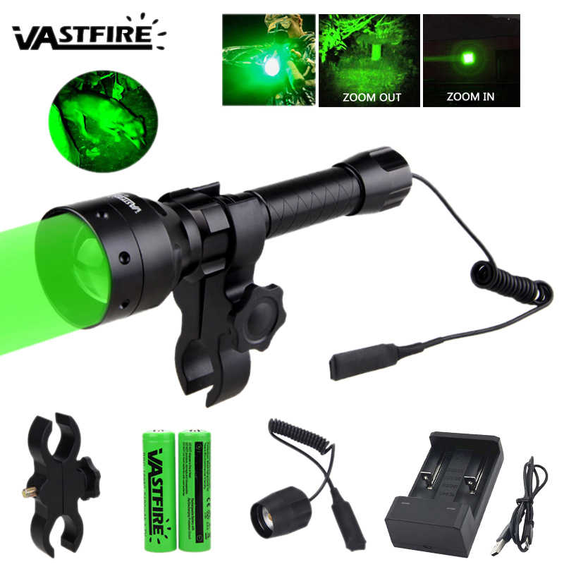 XP-E2 Taktis Berburu Senter Zoomable 500 Yard 55 Mm Lensa UF-1405 Pistol Lampu + Rifle Scope Mount + 2*18650 + USB Charger + Switch
