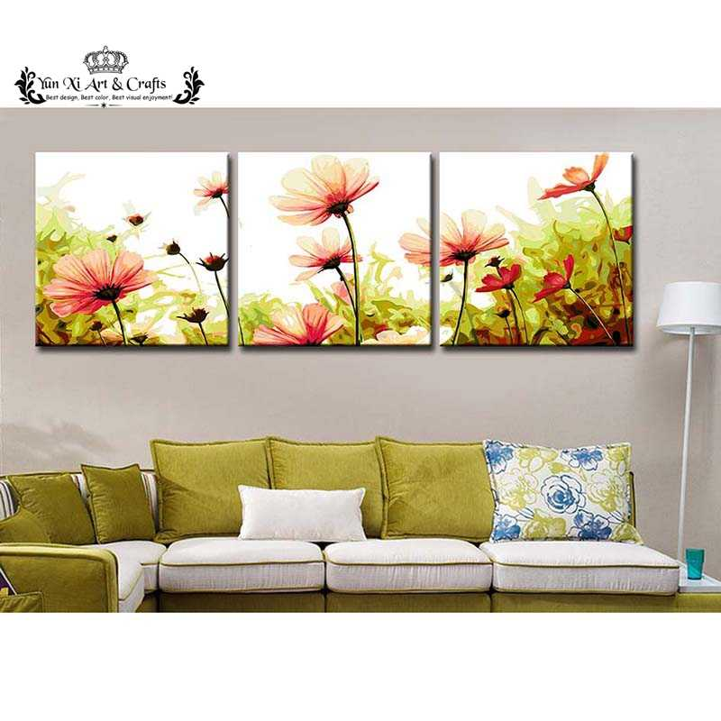 Daisy flower - Triptych picture vintage home decor painting by numbers wall pictures for living room coloring by number