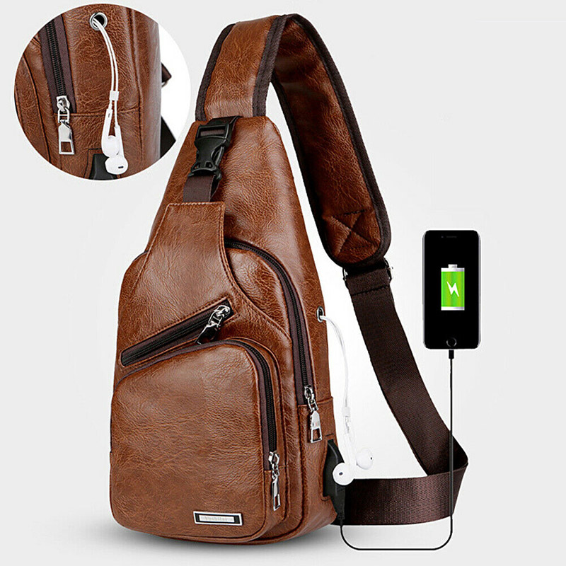 Men Shoulder Bag USB Charging Sports Crossbody Sling Chest Pack Bag BB55