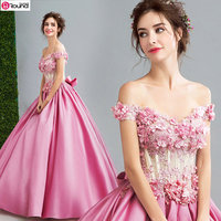 2017 New Arrival Popin Off The Shoulder Bowknot Decorated Pink Quinceanera Dresses Unique Wedding Gown 790