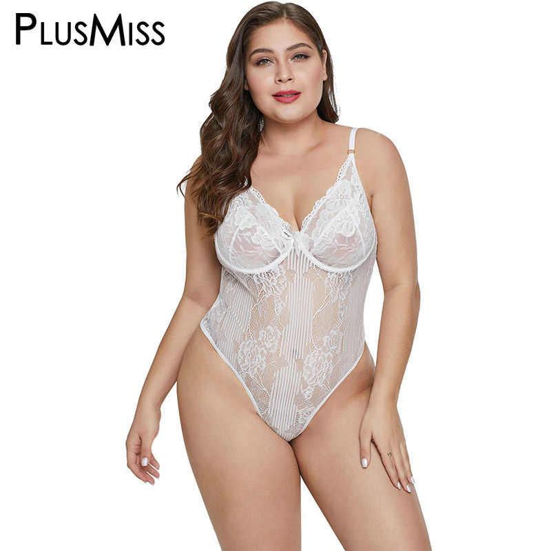c7a0bc0b2 ... PlusMiss Plus Size Sexy Lace Mesh Transparent Babydoll Chemise Hot  Erotic Sex Lingerie Big Size Costume ...