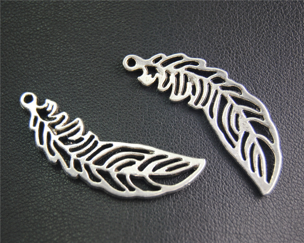 20Pcs Antique Sliver Filigree Feather Charm Fit Bracelets Necklance DIY Metal Jewelry Making 38x13Mm A2061