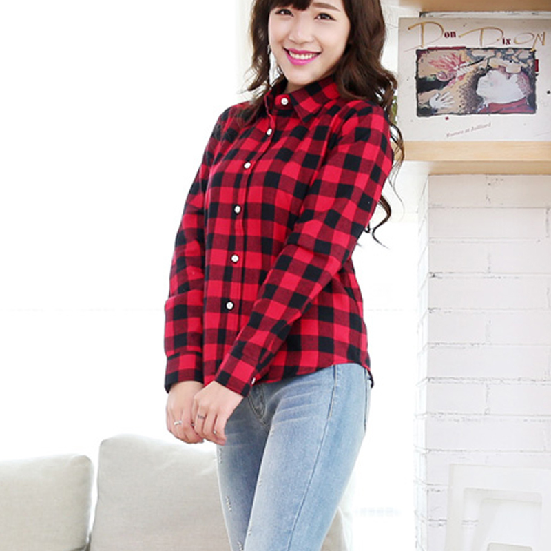 c713a1af Plaid Shirt Brand Women Casual Cotton Full Sleeve Check Plaid Lapel Blouse  2015 Womens Fall Fashion camisetas manga larga-in Blouses & Shirts from  Women's ...