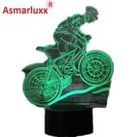USB 3D LED Lamp Mountain Bike Athlete Sport Lover 3D Night Lights 7 Colors Lamp As