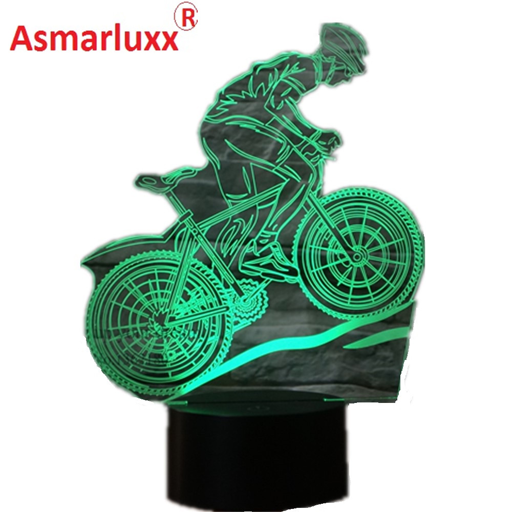 USB 3D LED Lamp Mountain Bike Athlete Sport Lover 3D Night Lights 7 Colors Lamp as Home Decoration or Birthday Gift for Friends