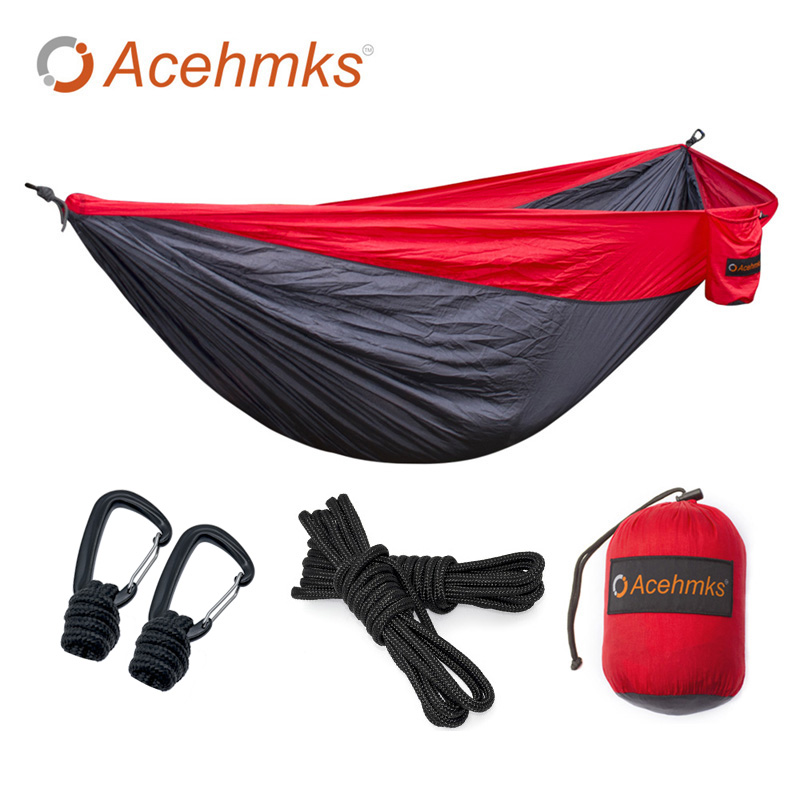 Acehmks Aluminum Alloy Snap 2 People Portable Parachute Hammock Camping Survival Garden Hunting Leisure Travel Free Shiping 2017 2 people hammock camping survival garden hunting travel double person portable parachute outdoor furniture sleeping bag