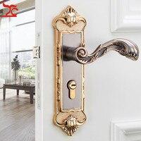 European retro aluminum bedroom door lock indoor solid wood door door mechanical lock