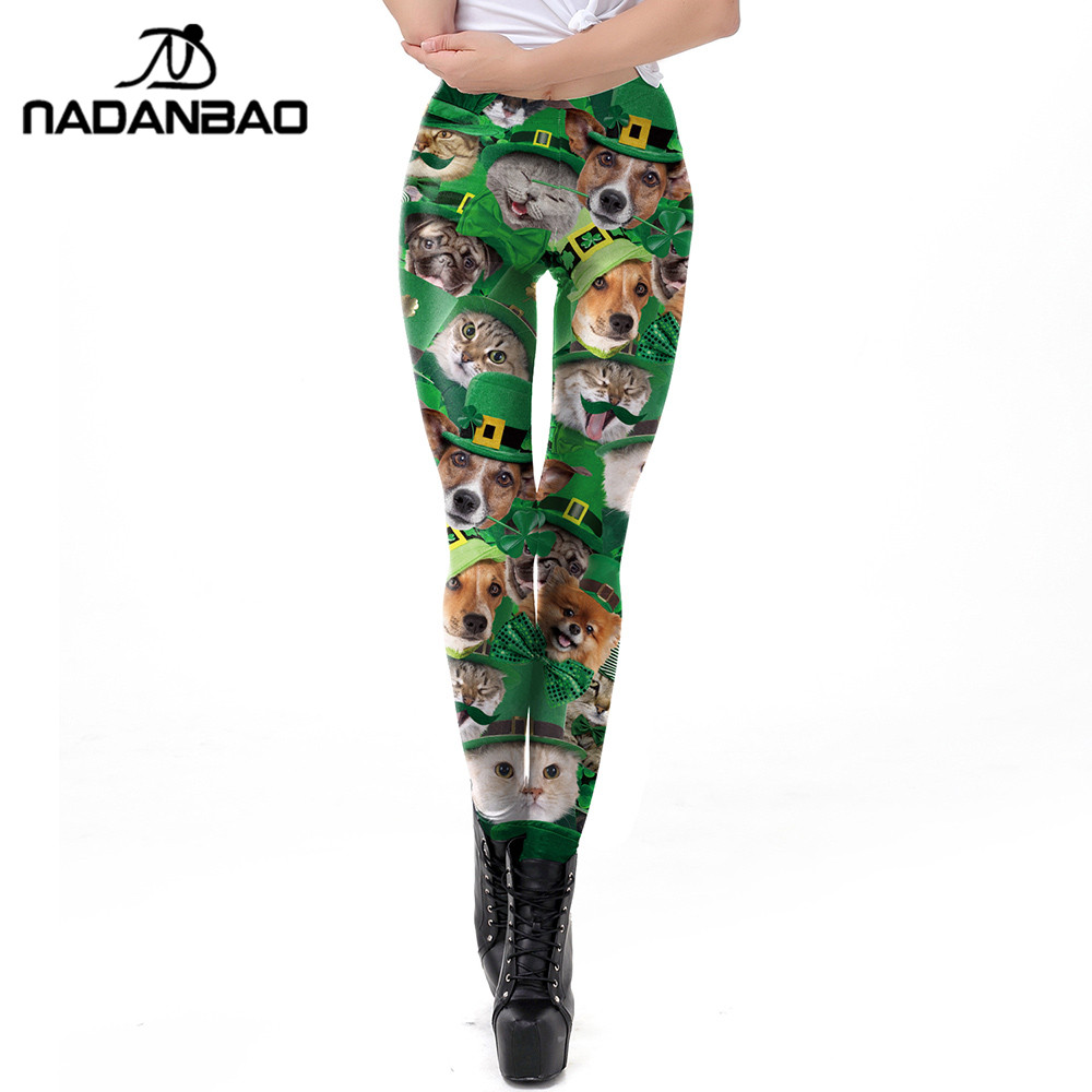 dd59b61ec2373e NADANBAO Green Lucky Clover Leggings Women Patrick's Day Funny Cat and Dog  Workout Fitness Leggins 3D