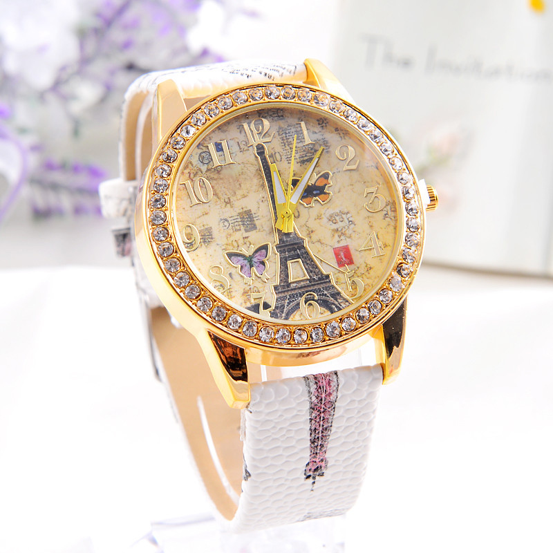 Relojes Mujer Montre Fashion Paris Style Tower Butterfly PU Leather Women Watch Relogio Feminino WristWatch  Ladies Watch new relojes mujer 2017 ladies fashion watches women dress watch quarzt relojes mujer pu leather casual watch relogio feminino
