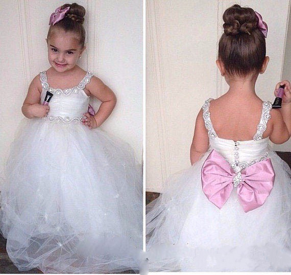 New Arrival White Puffy Flower Girl Dresses for Wedding Toddler Glitz Prom Gowns Kids Baby Special Occasion frocks with BowNew Arrival White Puffy Flower Girl Dresses for Wedding Toddler Glitz Prom Gowns Kids Baby Special Occasion frocks with Bow