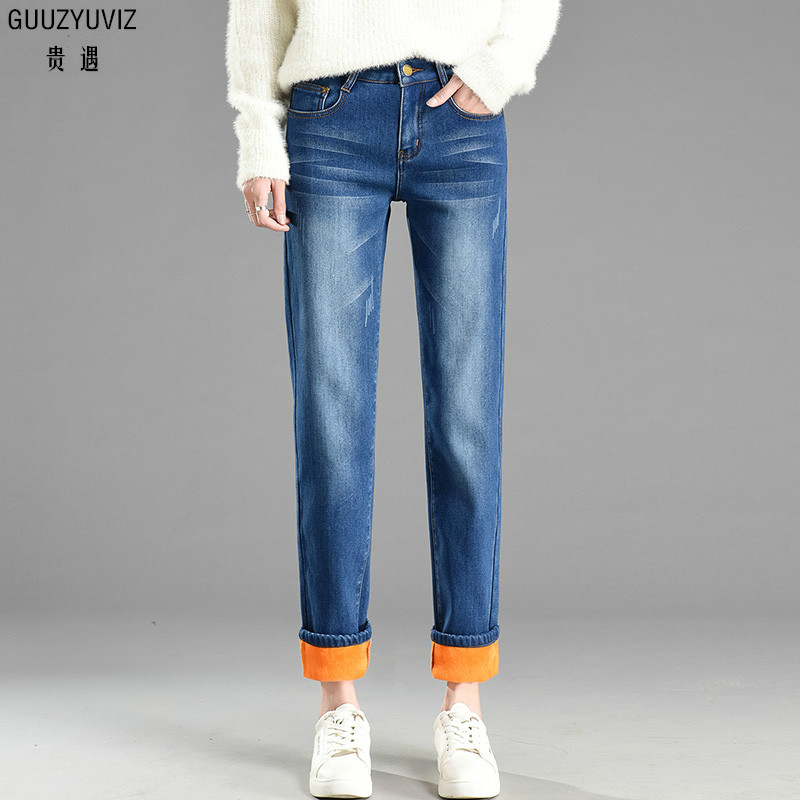 Women's Clothing Bottoms Guuzyuviz Autumn Winter Plus Size Jeans Woman Vintage Casual Print Hole Ripped Washed Cotton Denim High Wasit Pants Mujer Great Varieties