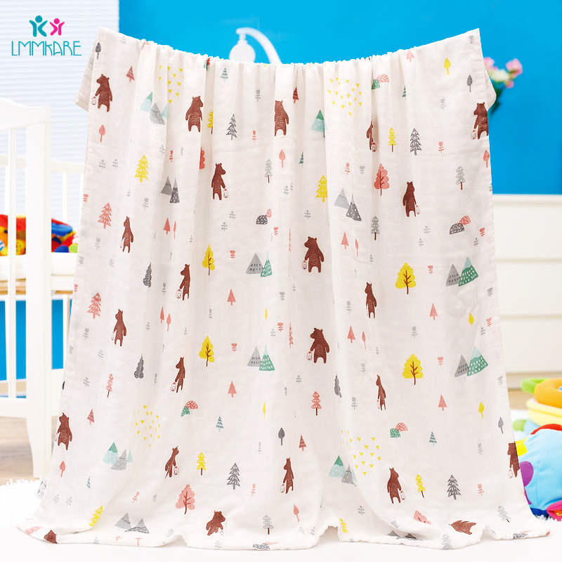 Muslin Newbron Baby Receiving Blanket 4 Layer Bamboo Fiber Gauze Baby Towels Multifunctional Soft Baby Blanket & Swaddling Warp