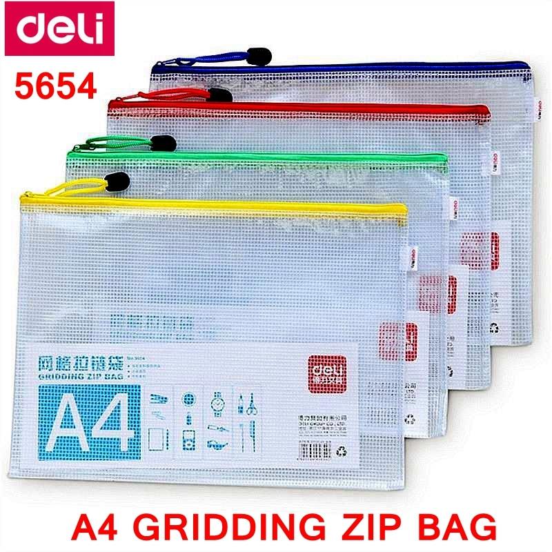 10PCS/LOT Deli 5654 A4 Gridding Zip Bag 240x330mm File Bag File Pocket Zip Folder Documents Pocket Mixed Color Wholesale