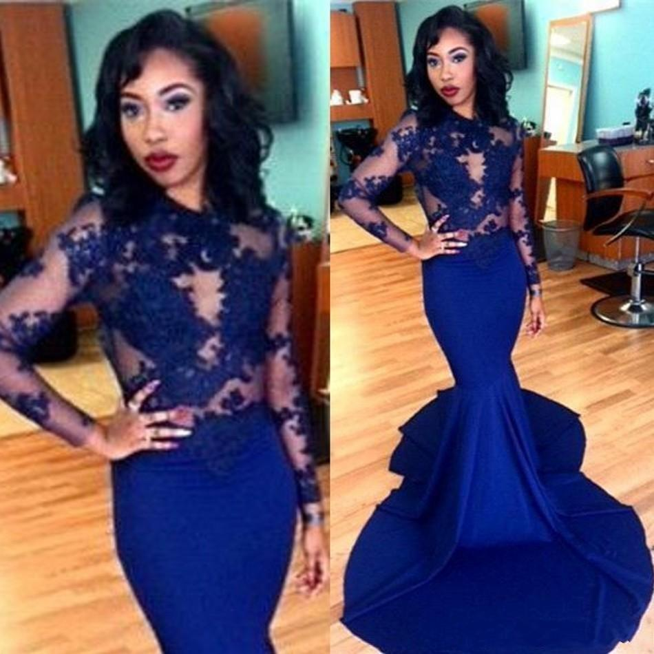Popular Navy Blue Long Sleeve Lace Mermaid Prom Dress-Buy Cheap ...