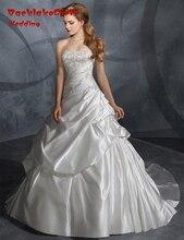 BacklakeGirls 2017 Real Bride Dresses Custom Made Ivory White Satin A Line Wedding Dress Vestido De Novia