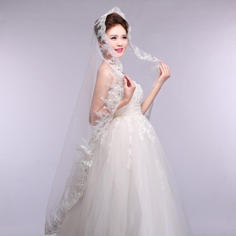 Sequin Lace Short Bridal Veil 1.5M Long Ivory Veil One Layer  Wedding Veil  Velo Para Novia