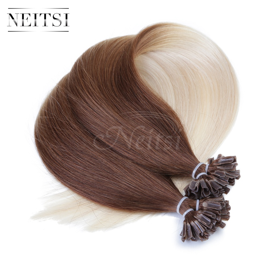 Neitsi Brazilian Straight Pre Bonded Nail U Tip Keratin Hair Extensions T6 60 Ombre Colored 20inch 1g S 50g 100g Fast Shipping In Fusion