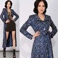 Primavera otoño moda de estilo británico de la mujer azul X-long encaje Trench coat, elegante diseñador para mujer Floral delgado polvo abrigo