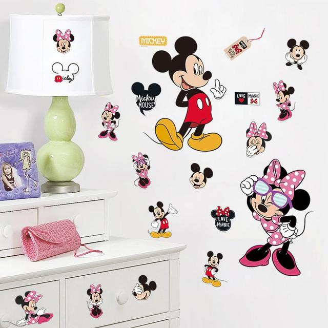 Mickey Minnie Mouse Wall Decals Kids Gift Bedroom Decorative Stickers Diy  Cartoon Mural Art Pvc Nursery