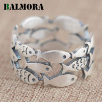 BALMORA 100 Real 990 Pure Silver Jewelry Fish Cute Rings For Women Girls Animal Rings Party