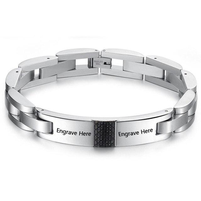Personalized Name Jewelry Titanium Steel Bracelets For Women Men ID Bracelet Birthday Gift Free Engrave BA101441