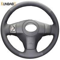 KUNBABY Car Styling Black Genuine Leather DIY Car Steering Wheel Cover for Toyota Yaris Vios RAV4 2006 2009 Scion XB 2008