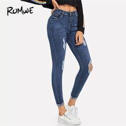 ROMWE Темно-Синие рваные обтягивающие джинсы, летние женские повседневные штаны на пуговицах с высокой талией, новые стильные женские Простые...