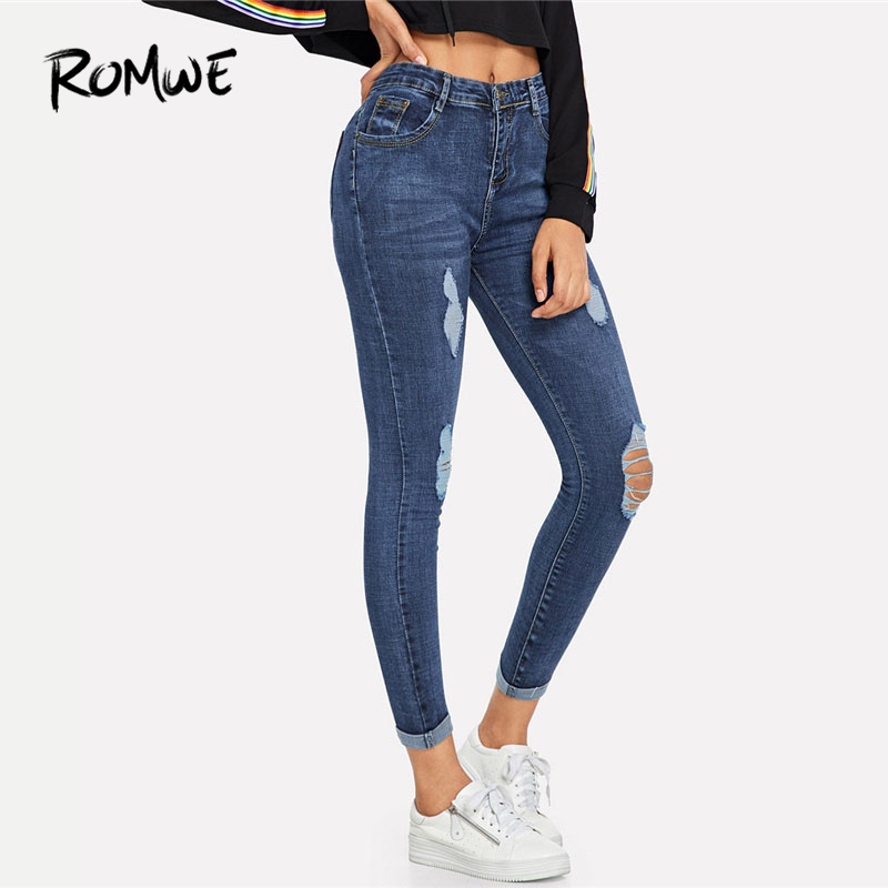 ROMWE Navy Ripped Skinny Denim Jeans Summer Women Casual Button Fly High Waist New Style Trousers Female Plain Fashion Pants
